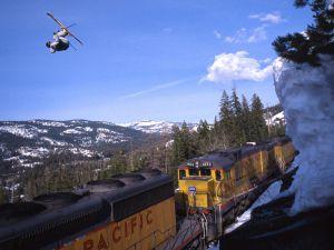 Ski jump over a train