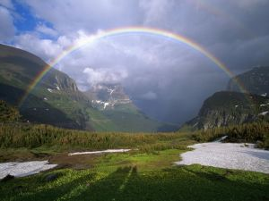 Rainbow between the mountains