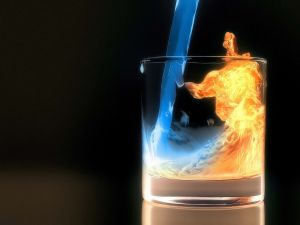 Glass with liquor and fire