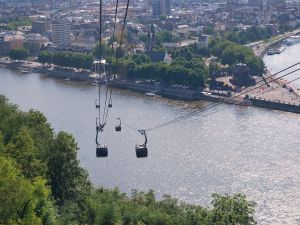 Cable car crossing the river