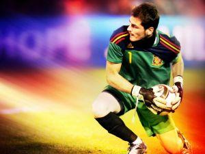 Iker Casillas as goalkeeper of the Spanish Football National Team