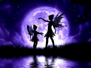 Fairies next to the large purple moon
