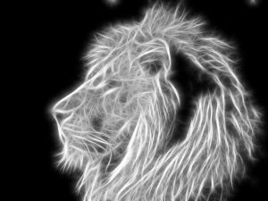 Black and white abstract lion