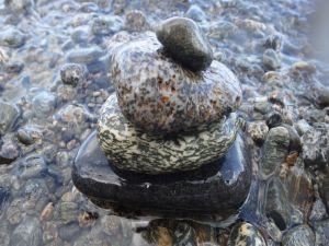 Zen tower with river stones