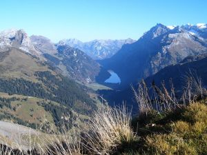 The lake Klöntalersee and the Glärnisch massif, seen from Saaspass (Switzerland)