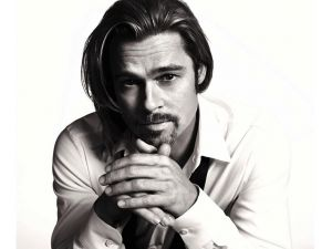 Brad Pitt in black and white