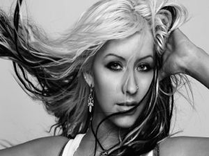 Christina Aguilera in black and white
