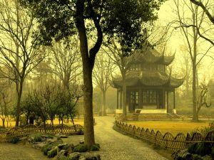 Oriental pavilion in the park