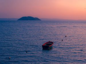 Sunset on the island of Kelyfos (Greece)