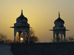 Sunset in a temple (India)