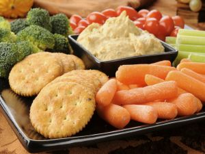 Snacks of raw vegetables with paté