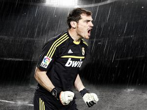 Iker Casillas under the rain