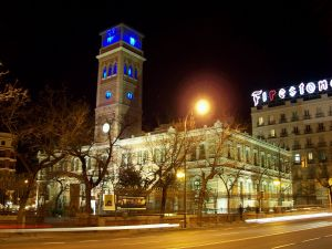 "Night view of the ""Madrid Arab House"" (Spain)"