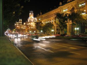 Night view from the Calle de Alcala in Madrid (Spain)