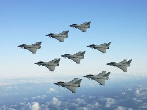 Fighter squadron in flight