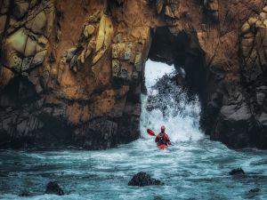 Canoe among the rocks