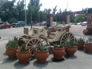 A cart surrounded by potting