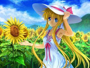 Girl among sunflowers