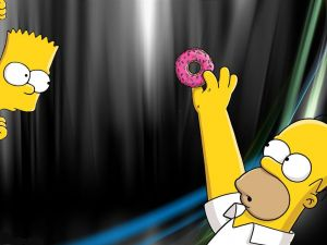 Homer, Bart and a donut