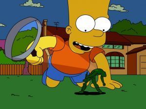 Bart Simpson with a magnifying glass
