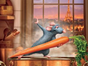Remy dancing with a carrot (Ratatouille)