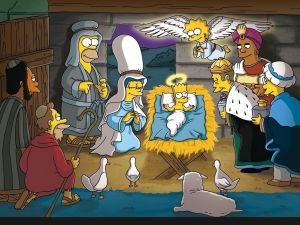 Nativity scene to Simpsons style