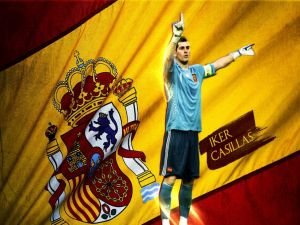 Iker Casillas with the flag of Spain