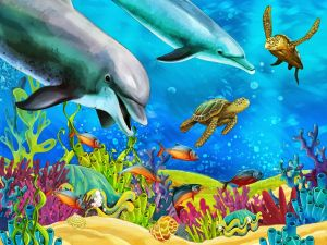Ocean floor with colorful fishes, corals and reefs