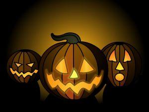 Three pumpkins on Halloween
