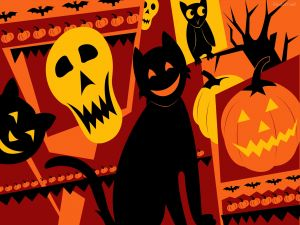 Cats and other creatures at Halloween
