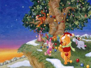 Winnie and his friends celebrating Christmas