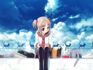 Manga girl with cats
