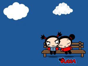 Pucca sitting beside Garu