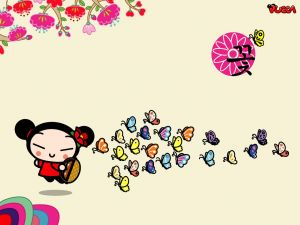 Pucca and many butterflies