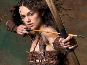 Keira Knightley with bow and arrow