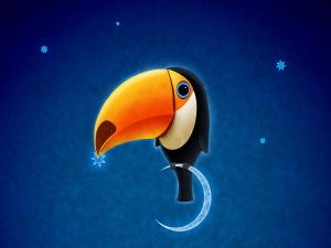 Toucan perched on the moon