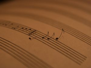 Musical notes that leaving the score