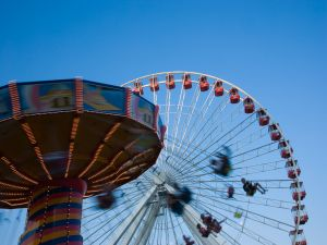 Ferris wheel and flying chairs
