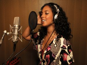 Alicia Keys at the recording studio