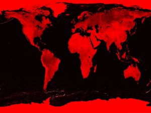 World map in red and black