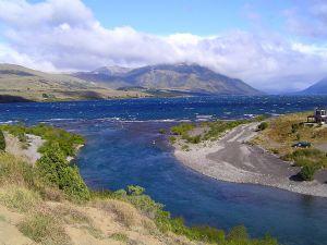 Origin of river Chimehuin, at lake Huechulafquen (Argentina)