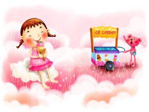 Girl eating a delicious ice cream