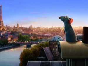 Ratatouille looking at the Eiffel Tower