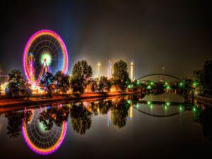 Illuminated amusement park