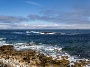 Coastal path with rocks