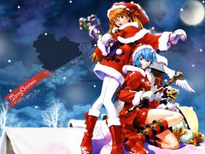 Manga girls congratulating the Christmas