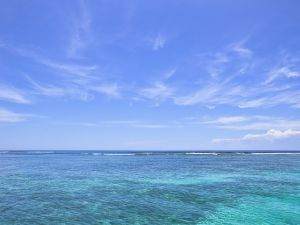 The crystal waters of the Caribbean Sea, on a sunny day