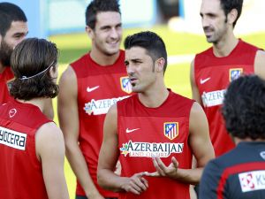 Players of Atlético de Madrid, chatting in the training
