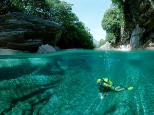 Diving in a beautiful place