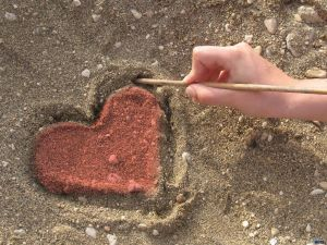 A heart in the sand